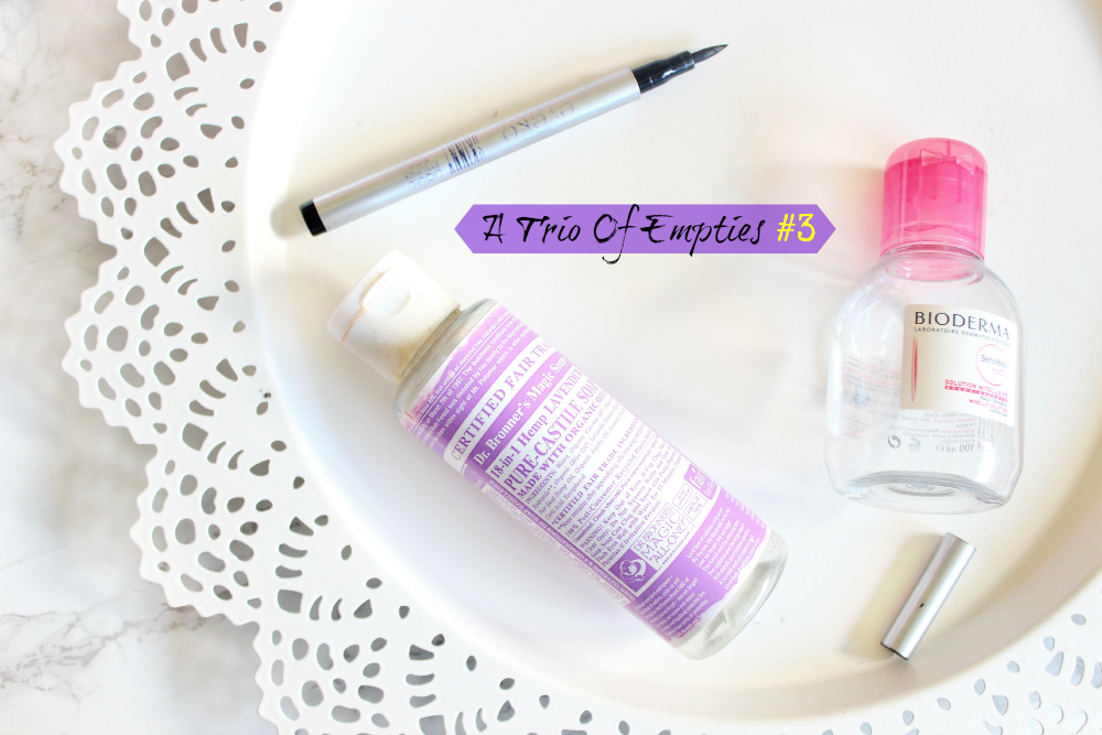 eyeko skinny liner, bioderma micellar water, dr bronner's magic soap lavender
