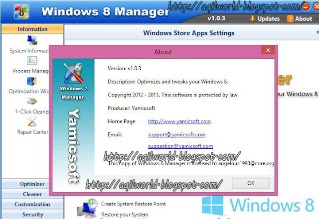 free download Yamicsoft Windows8 Manager 1.0.3