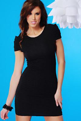 BLACK SCOOP NECK CRINKLE TEXTURE SEXY MINI DRESS