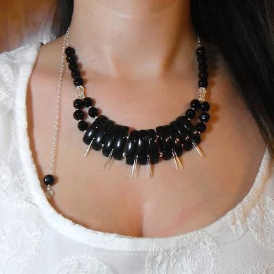 Sterling silver onyx necklace. Gil / Collar de plata de ley y ónice. Gil