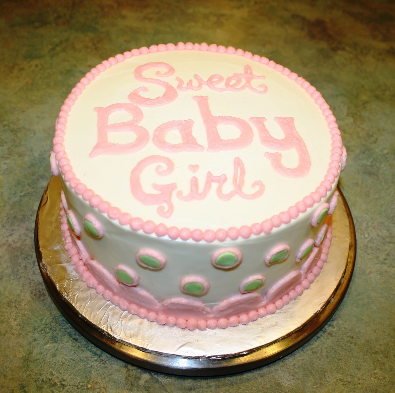 party cakes pink green baby shower cake