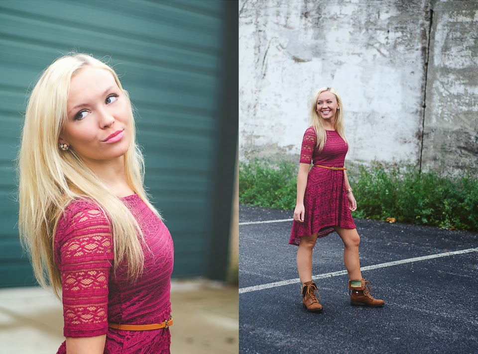 Katlyn wears a cute lace dress for senior pictures and looks adorable!