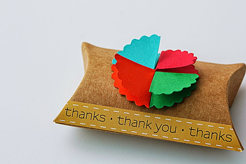 SRM Stickers Blog - Kraft Pillow Boxes by Yvonne - #kraft #pillow box #punched pieces #thank you #stickers