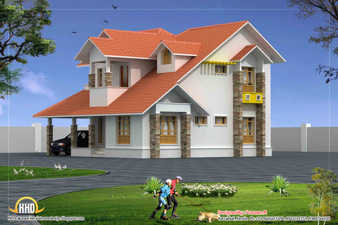 Duplex house elevation 2250 sq ft kerala home design Small duplex house photos