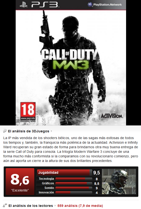 Call Of Duty Modern Warfare 3 [Esp][PS3][3.55]