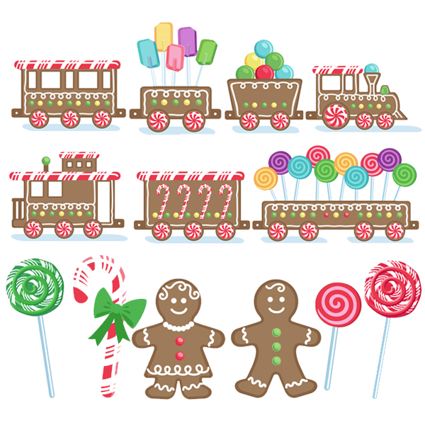 Gingerbread Train Set by Samantha Walker in SVG cut or printable format.