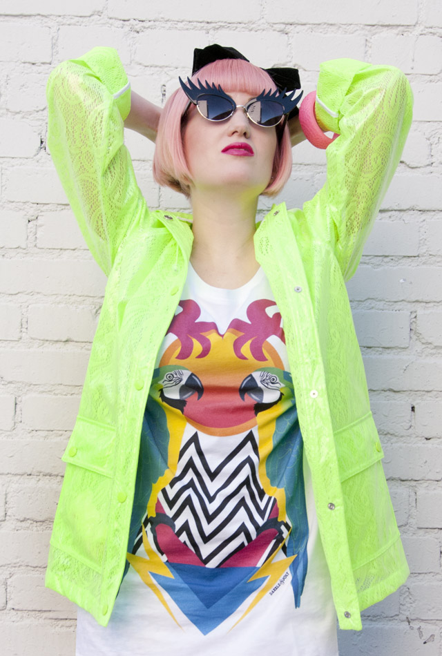 Tatty Devine, Neon Green Rain Jacket, Pastel hair with bow, graphic tee