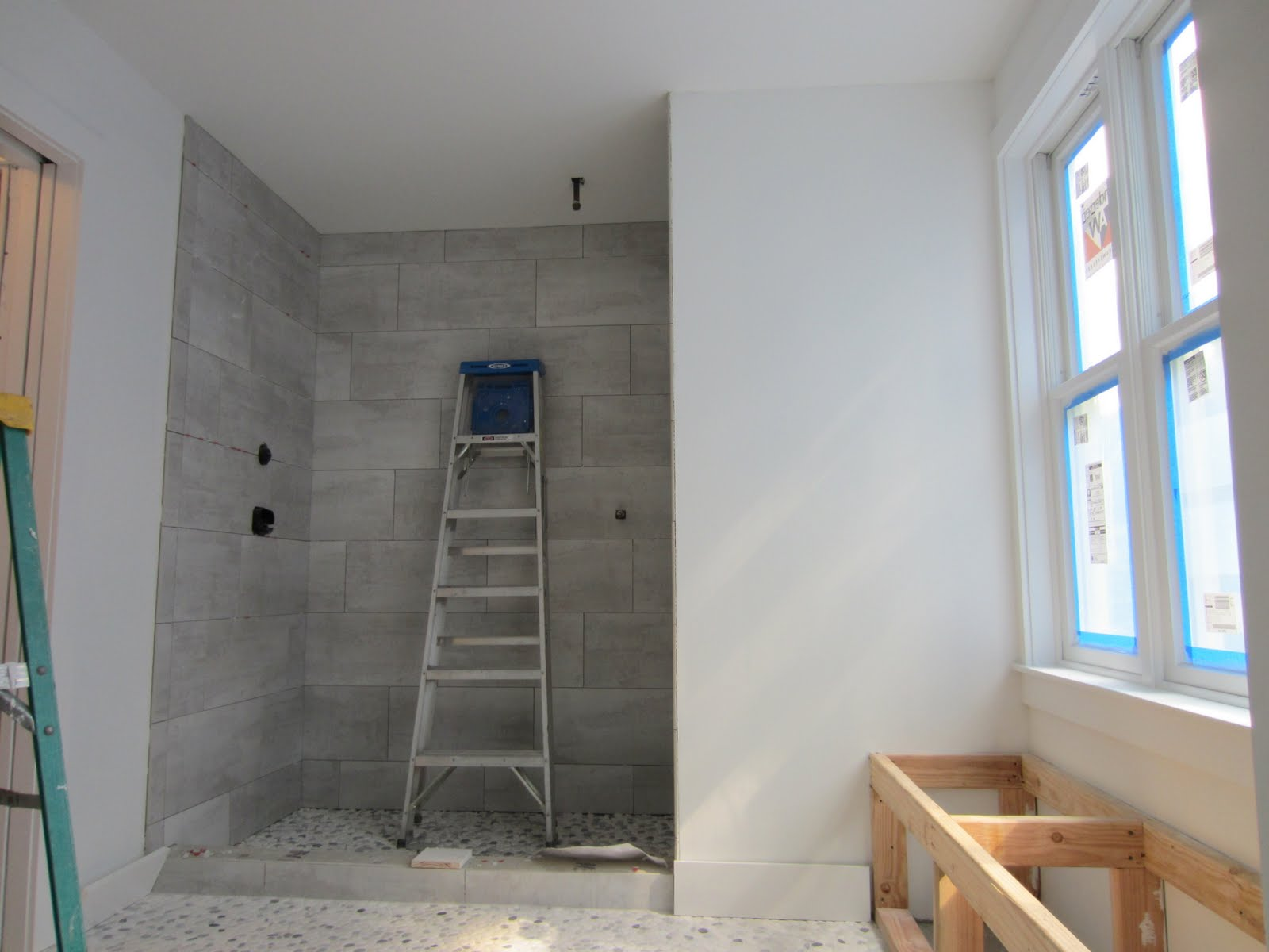 Gio gio design master bathroom progress for 12x24 bathroom tile ideas
