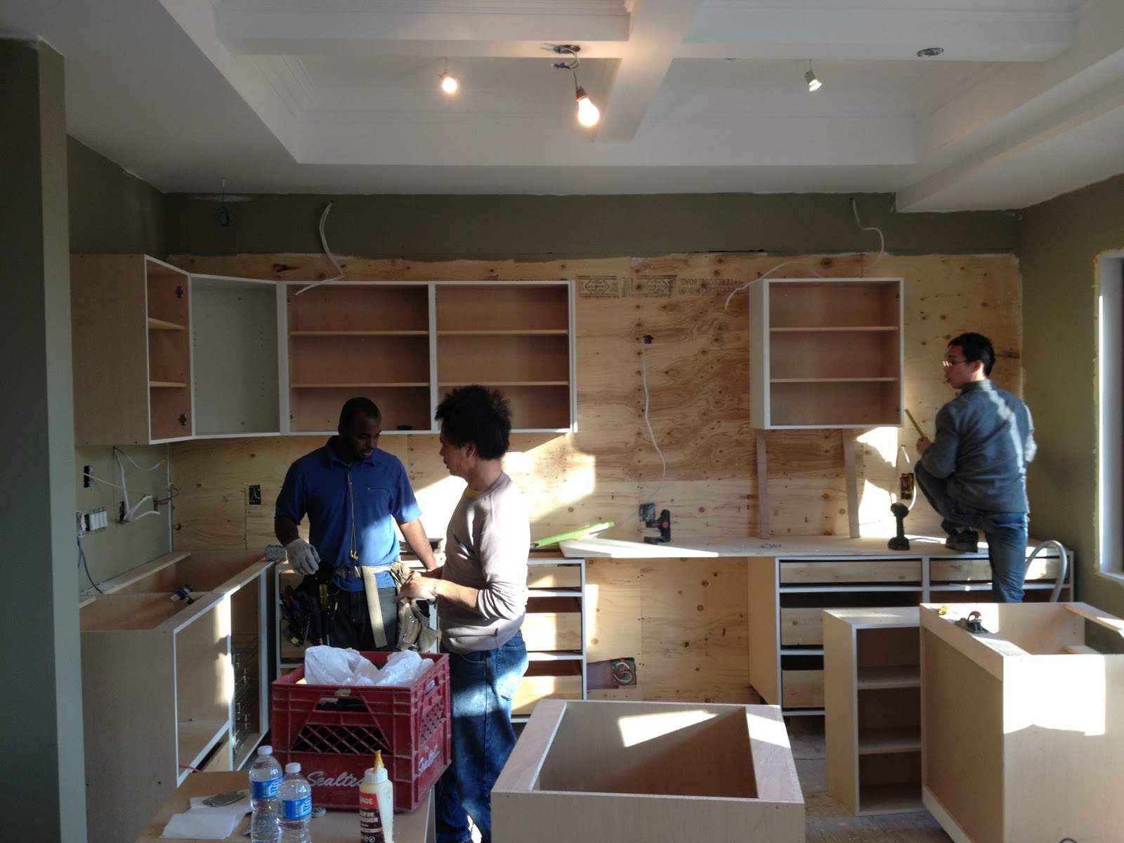 day custom Maple Kitchen installation started today by BAX Cabinets
