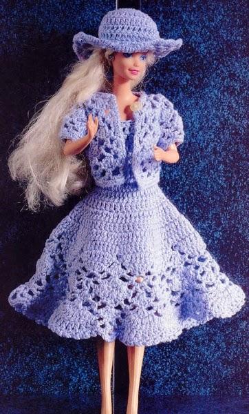 Barbie Crochet - Vestido azul y sombrero ~ Crochet para Ti