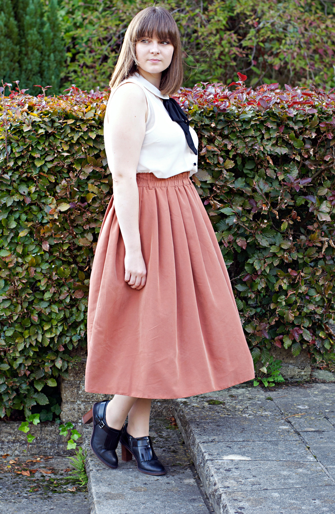 pussy bow blouse midi skirt fall outfit