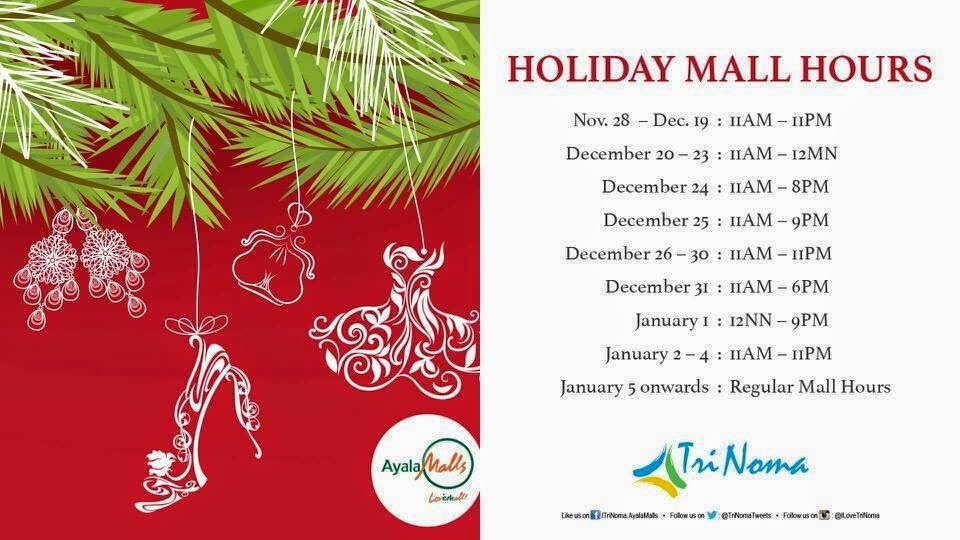 Manila Shopper: Major Malls & Theme Parks Holiday 2014 Schedule