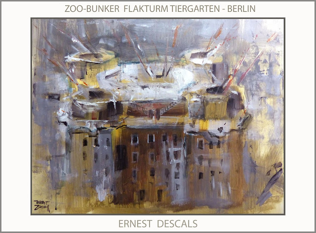 ZOO-BUNKER-TIERGARTEN-FLAKTURM-BERLIN-ART-WW2-PAINTINGS-PINTURA-ARTE-SEGUNDA GUERRA MUNDIAL-PINTOR-ERNEST DESCALS-