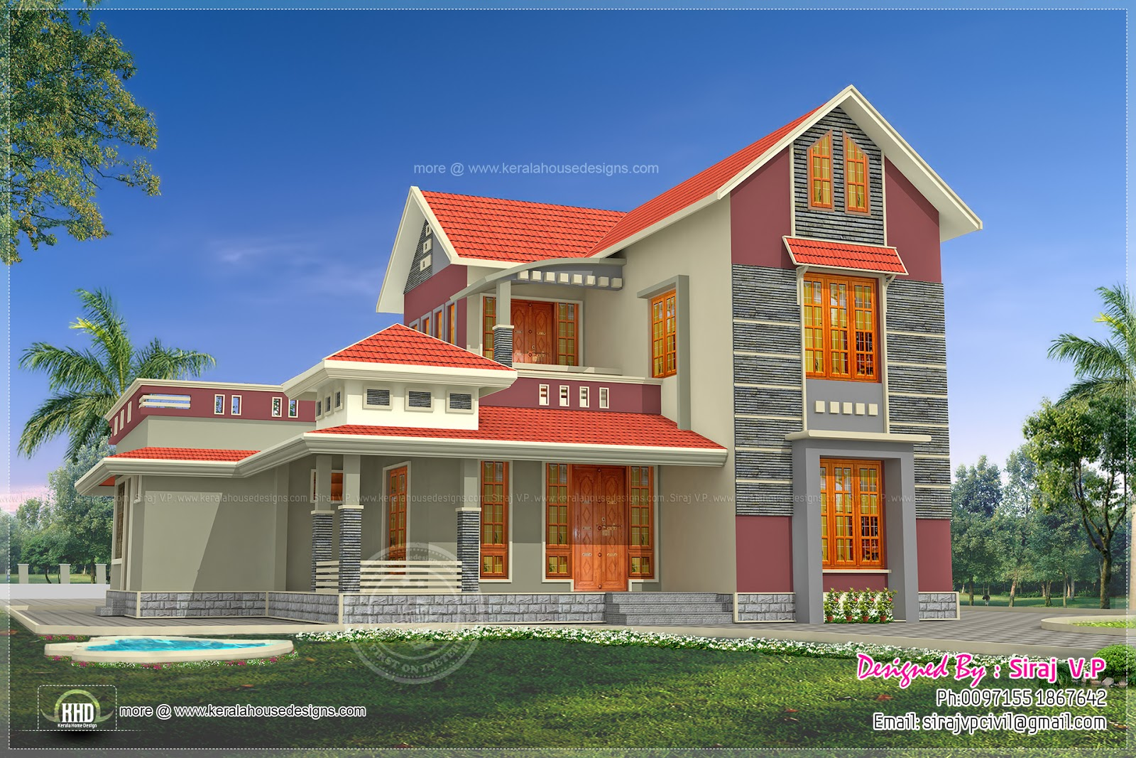 Beautiful 4 bedroom villa elevation in 2000 sq ft house for Beautiful villa design
