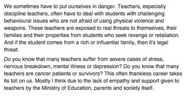 """Parents, we are not babysitters"" – Pesanan Seorang Guru Untuk Ibu Bapa"
