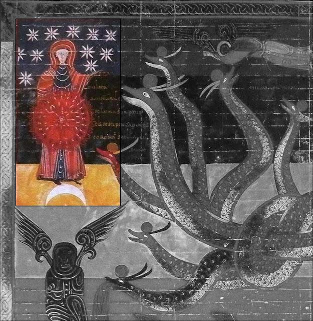 Besto de Liebana, Virgen Maria; atributos; luna, serpiente, estrellas