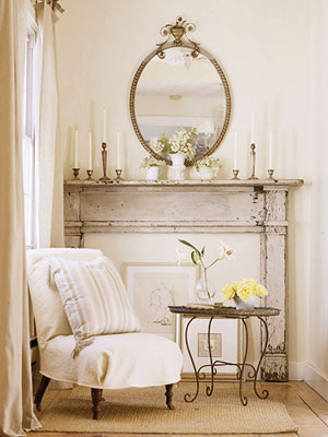 Two men and a little farm of faux fireplaces and fake mantels - Manteles shabby chic ...