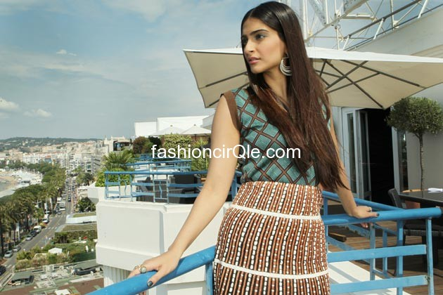 Sonam kapoor in brown skirt and cut sleeve top -  Sonam Kapoor loreal Cannes photoshoot