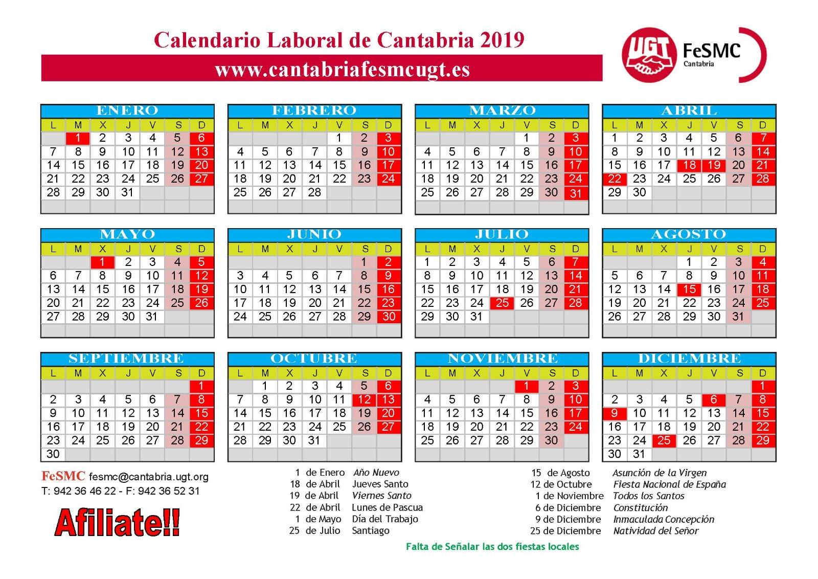 Calendario Laboral Cantabria 2019
