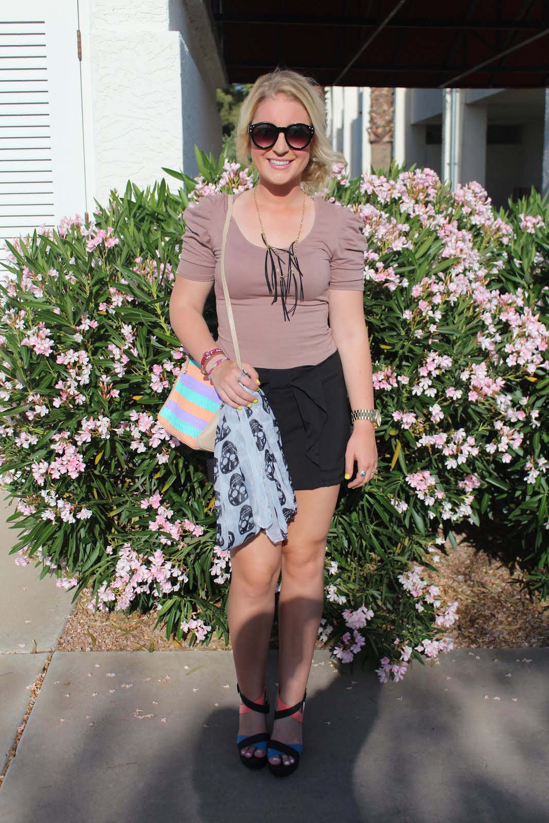 ... shirt Love Culture, DIY fringe necklace, DIY painted purse, heels  Plato's Closet {originally from Charlotte Russe}, sunnies Buffalo Exchange,  scarf Q, ...