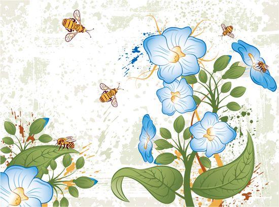 Dibujos de flores azules vectoriales dibujos con color - Imagenes de plantas de interior ...