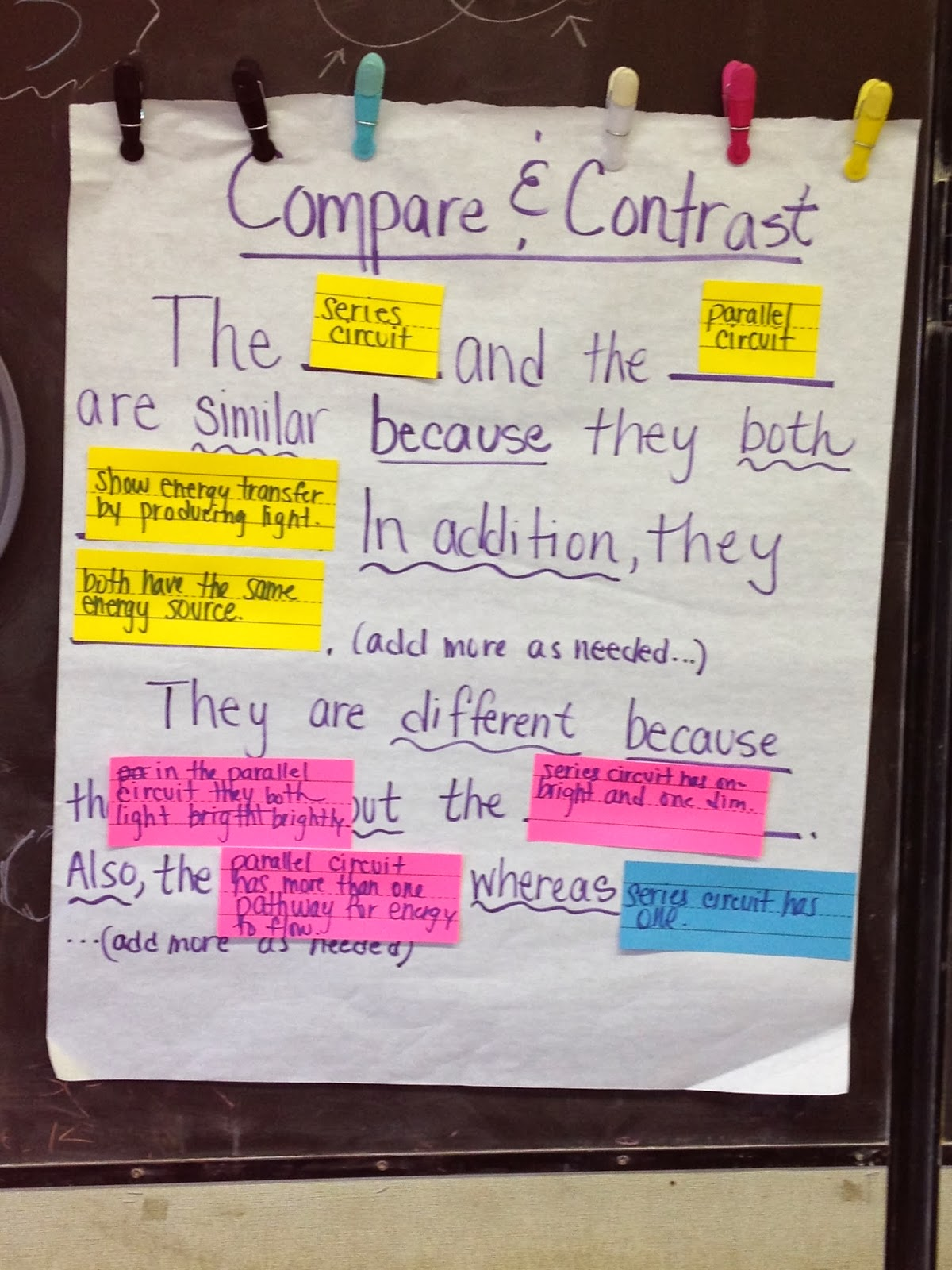 transitions to use in a compare and contrast essay