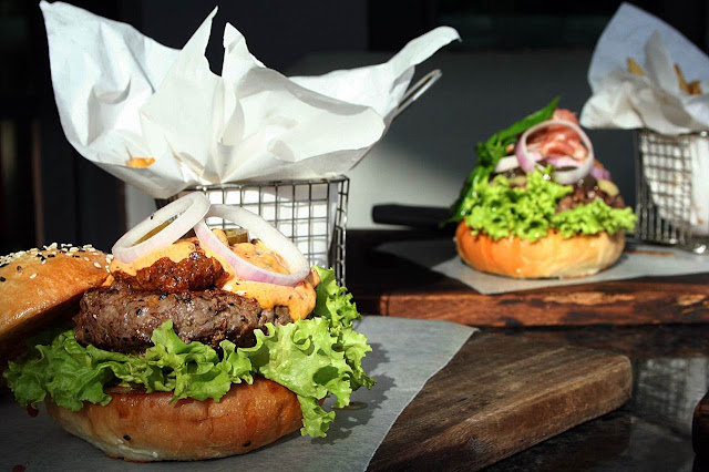 Premium Wagyu Burger Creations at Village Tavern Mexican