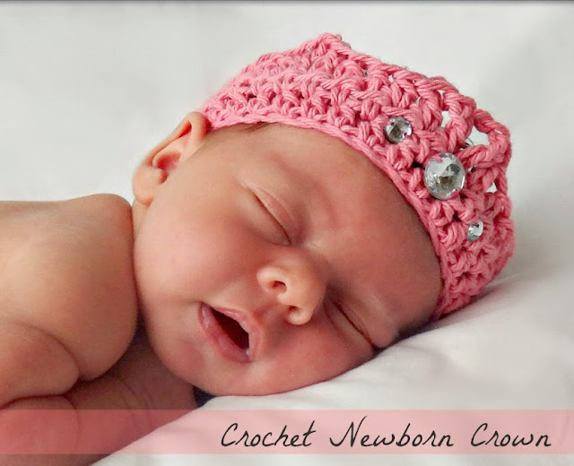free beginner crochet newborn crown pattern