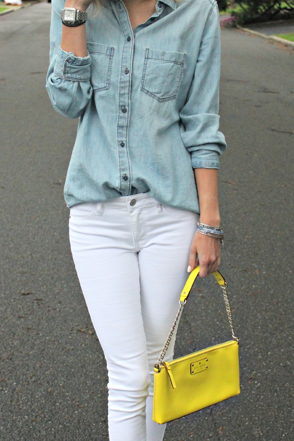 chambray top & white jeans