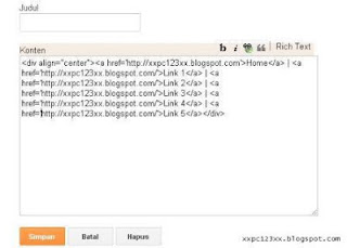 edit html untuk memasukkan menu bar teks/link