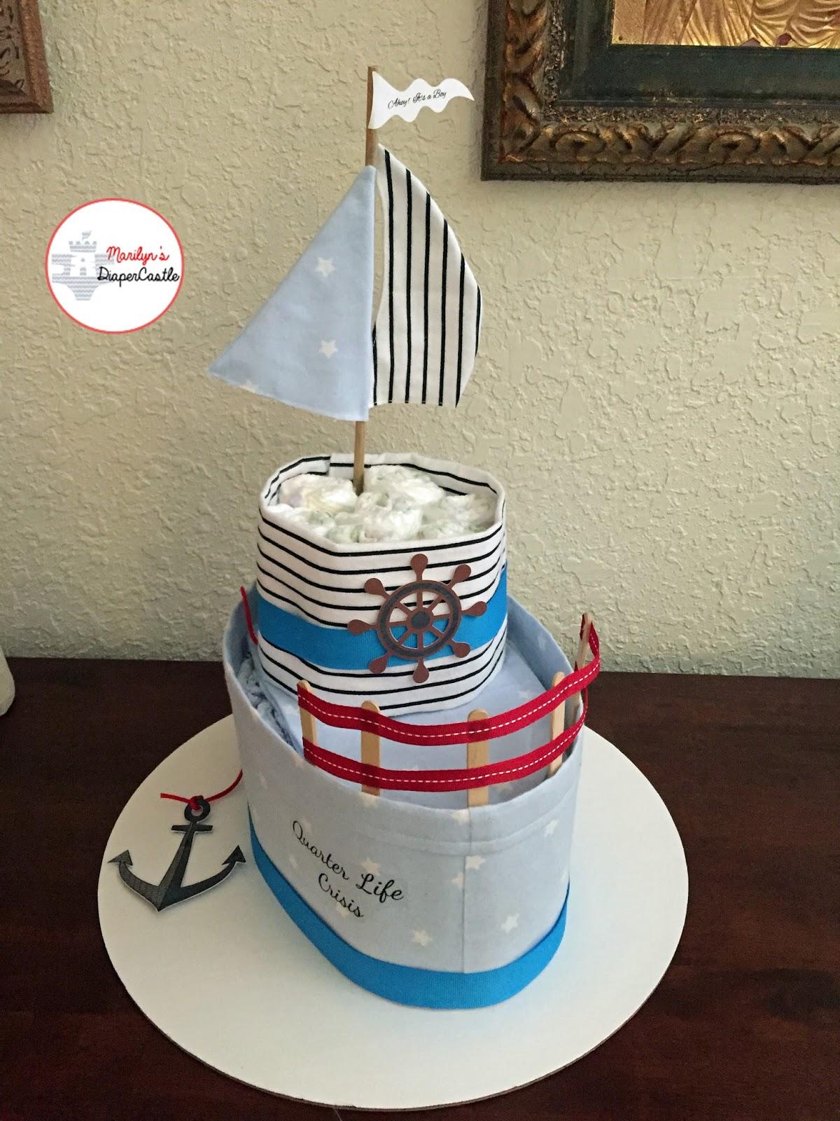 Marilyn S Diaper Castle Boat Diaper Cake