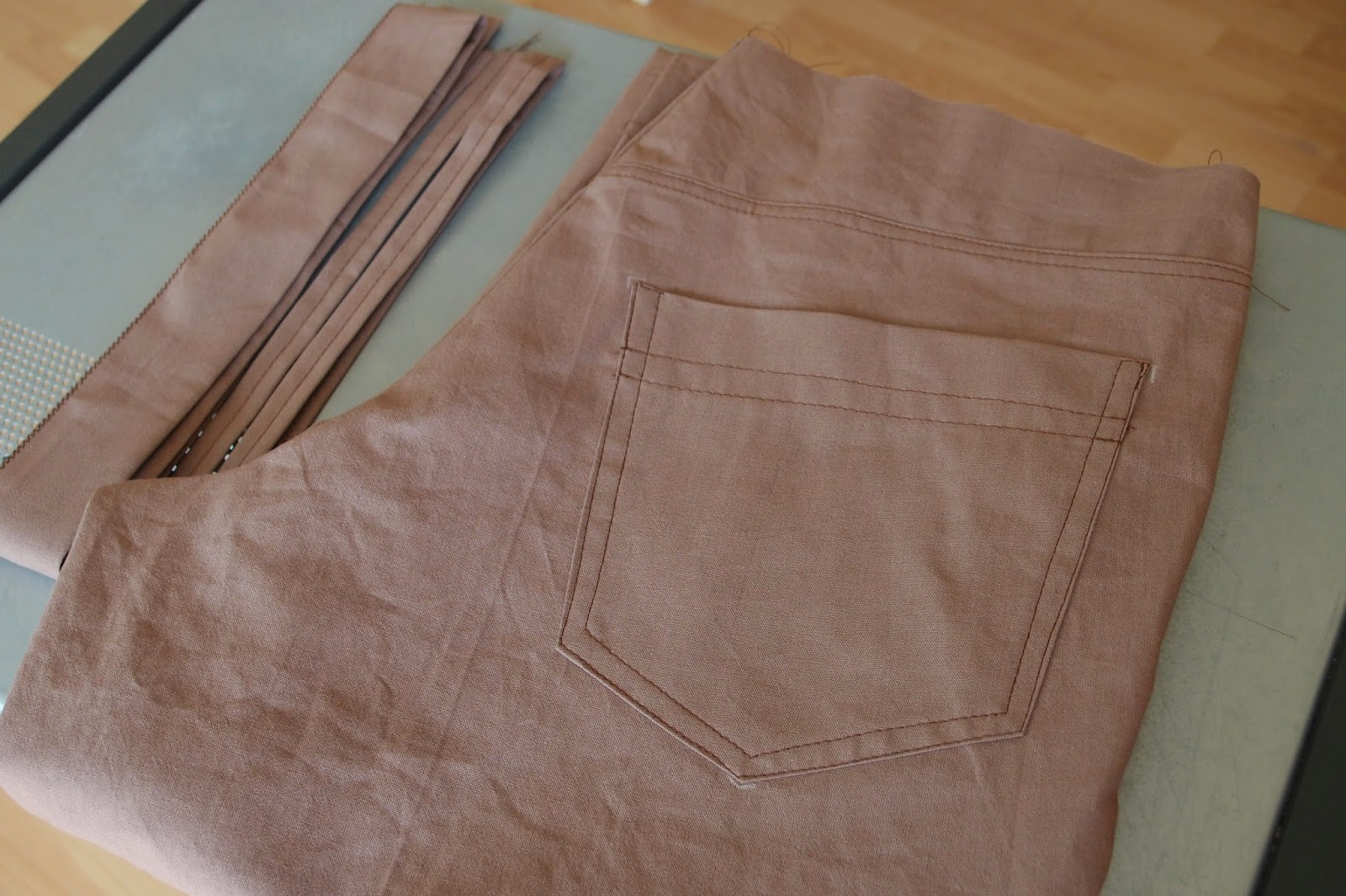 a waitband, belt loops and hem away from being ready to wear