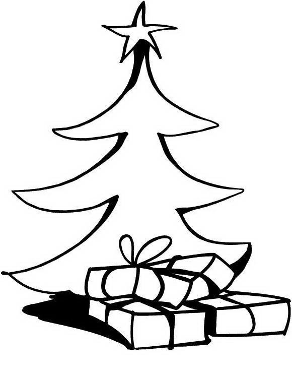 Árbol navideño con regalos para colorear y pintar ~ Colorea el dibujos