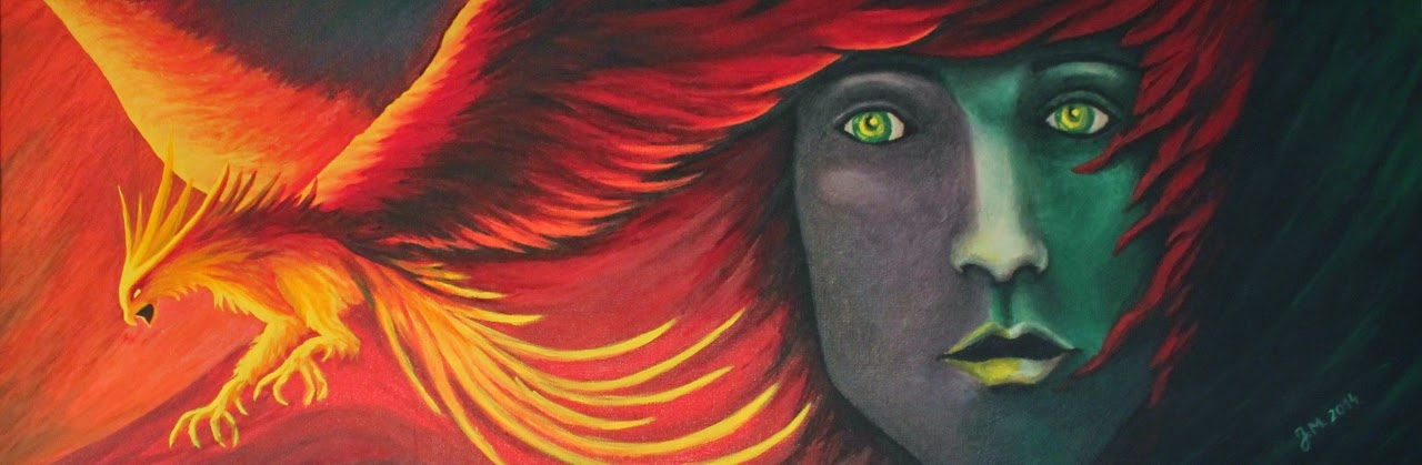 Acrylfarbe auf dünner Holzplatte. Malerei. Portrait. Mein Herz gleicht einem Phönix...  Es zerbricht zu tausend Scherben, aber schafft es dennoch wieder durch neue Liebe aufzuleben.