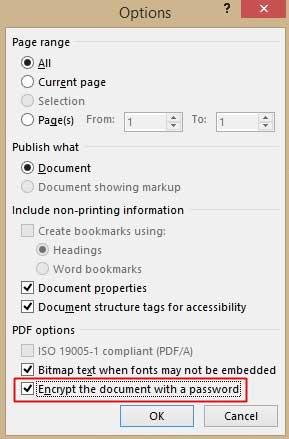 Thiết lập mật khẩu cho tập tin PDF trong Office 2013 5