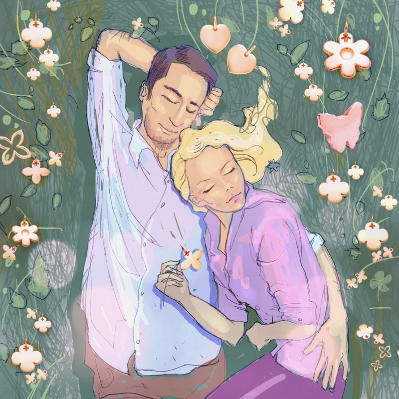 lilou ilustracja illustration for Lilou couple lie sleep at a  flower meadow