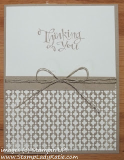 Card made with Stampin'UP! Stamp set: Sassy Salutations and embossed with the Square Lattice Embossing Folder.