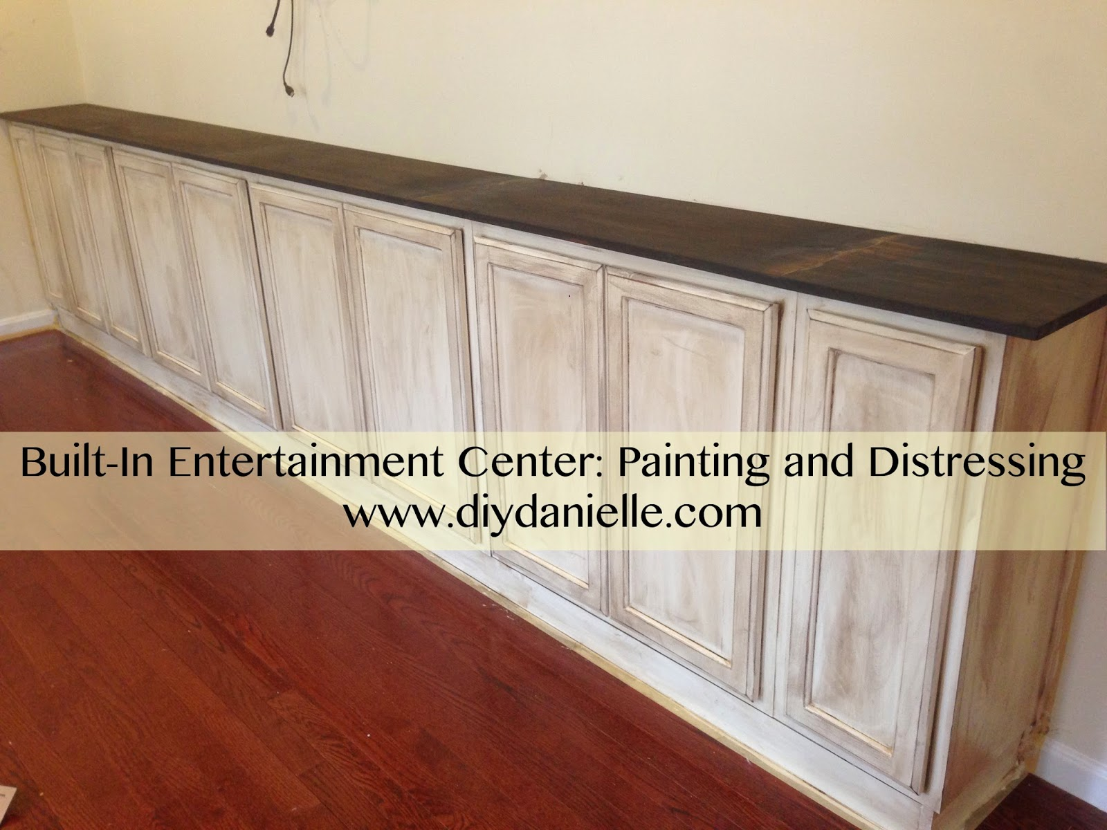 How I painted and distressed our built-in entertainment center