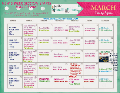 March Fitness Class Schedule