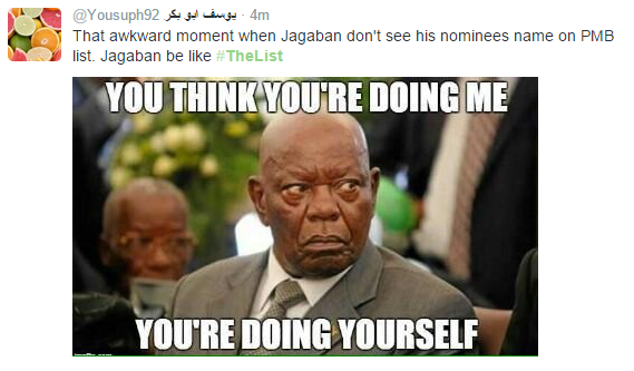 Nigerians funny reactions to President Buhari's ministerial list online