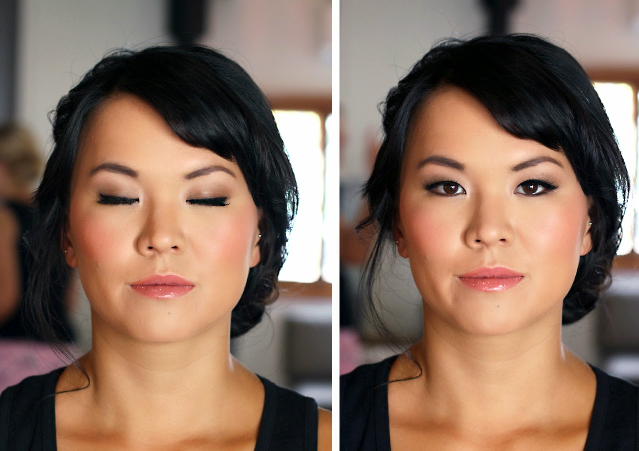 Asian Bridesmaid makeup. Natural Taupe eyeshadow & gloss lips. Makeup by Katie Dawson from Perle Jewellery & Makeup
