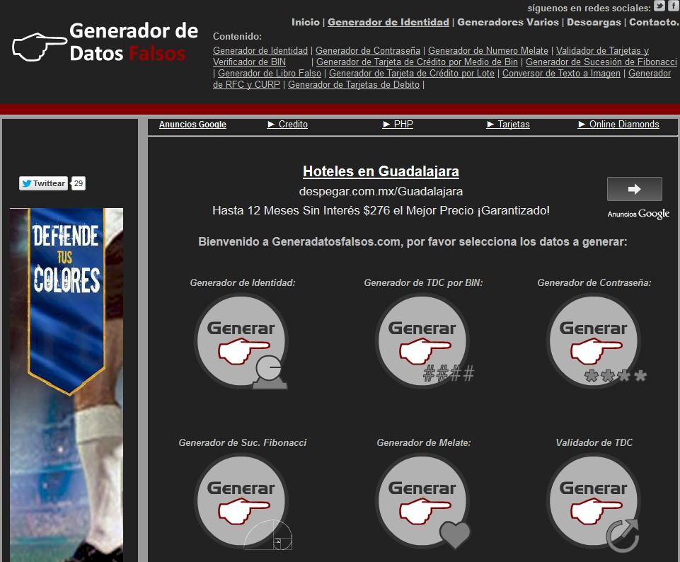 Web Recomendada: Web recomendada: Generador de Datos Falsos