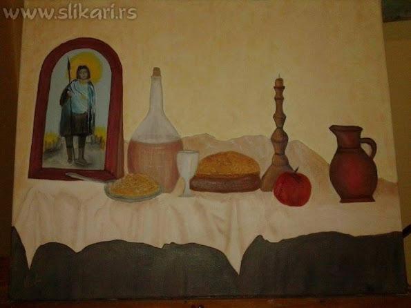 umetnička slika SLAVA-40 x 30cm ulje na platnu-slikar vladisav bogićević