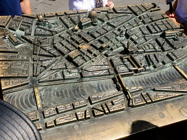 3D metal map of Florence, Italy, in the Piazza della Repubblica