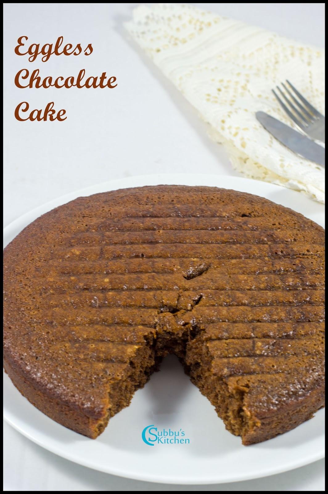 Eggless Chocolate Cake Recipe | Subbus Kitchen