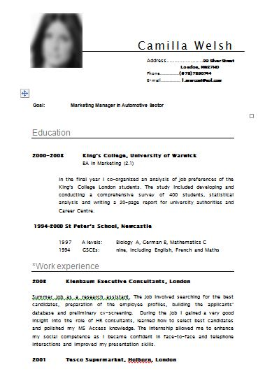 sample cv resume template