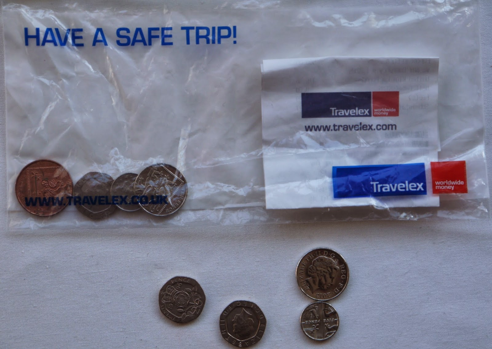 Travelex Plastic Wallet with loose coins