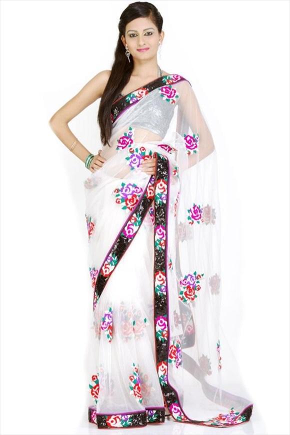 new White Net Saree