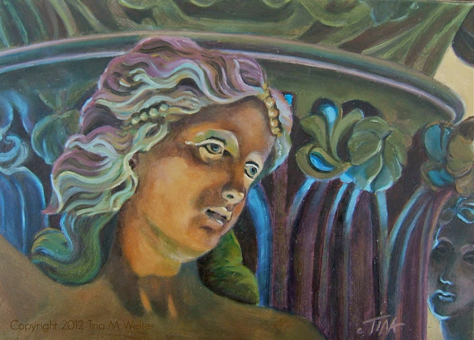"5""x 7"" oil on ""Gessobord"" copyright 2012 Tina M. Welter"