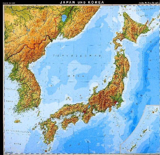 Geographical maps of Korea and Japan showing elevations and landforms. Both North and South Korea shown.